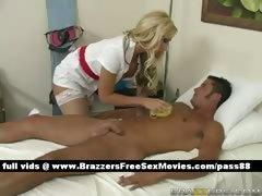 Sexy blonde nurse Washes a patient