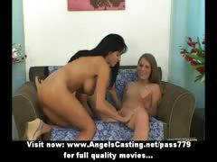 Lesbian latina milf and hitchhiker undressing and licking and toying