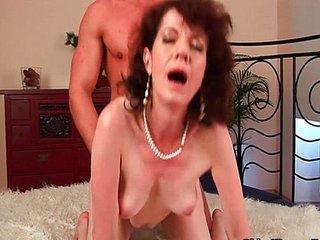 Mature mom with hairy muff and armpits fucks