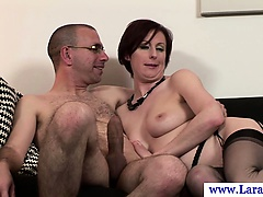 Stockings wearing euro mature milf facialized