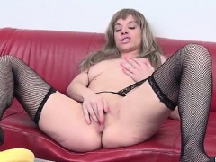 Horny mature in black stockings loves
