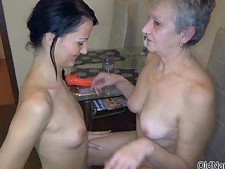 Nasty old ladu gets her hairy cunt