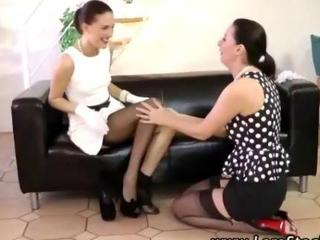 Mature stocking milfs lesbian fingering film 2