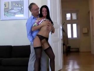 Older guy fucks pretty young brunette in stockings