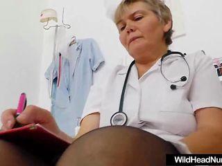 Granny Nurse strips in surgery to masturbate