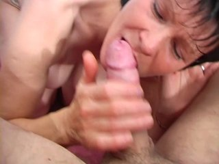 Horny mature lady sucks a dick before getting fucked